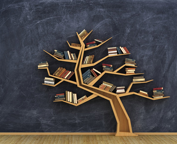Concept of science. Bookshelf full of books in form of tree on a