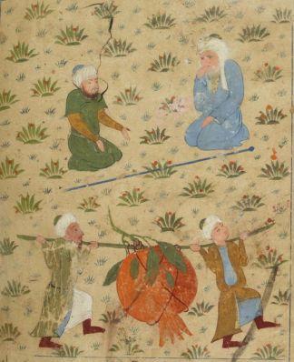 Ο Ιησούς του Ναυή, μεταφέροντας ένα τεράστιο ρόδι, Ṭūsī Salmānī, 1388