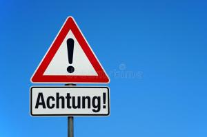 attention-warning-sign-blue-sky-german-text-achtung-translation-attention-attention-warning-sign-german-text-150909877