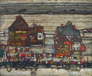 Egon Schiele - His Häuser mit bunter Wäsche (Vorstadt II)Houses with Laundry (Suburb II) [1914]