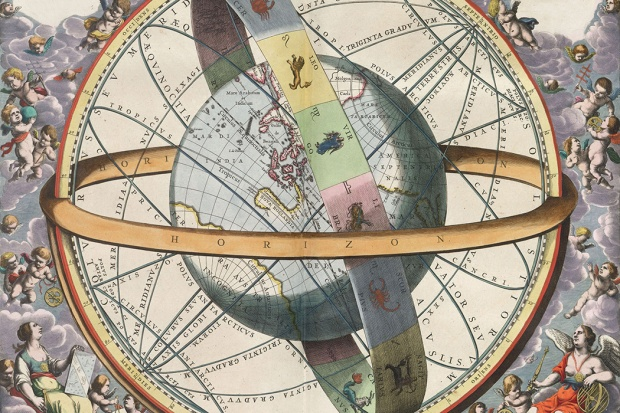 The location of the Earth encircled by the celestial circles, 1661 via Wikimedia Commons
